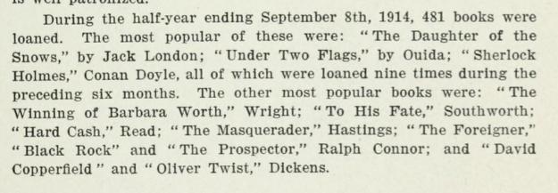 Bowman Library loans 1914