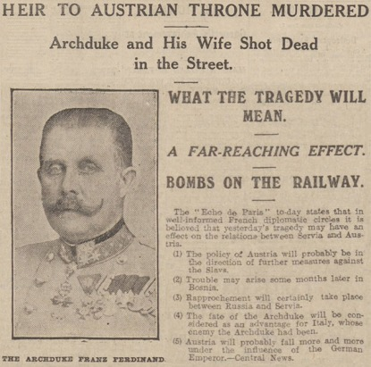 Manchester Evening News – Monday 29 June 1914 Image © Trinity Mirror. Image created courtesy of THE BRITISH LIBRARY BOARD.