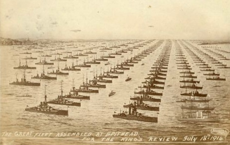 Grand Fleet for the King's Review July 18th 1914. Available public domain