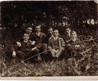 Written on verso: 'Taken in Herrington Woods'. Joe Allen is seated front row, left. Jim Allen is back row, right.